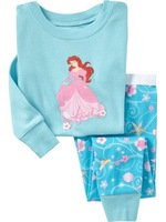 Retails 100%cotton girls long sleeve t shirts autumn pajamas children underwear branded blue princess