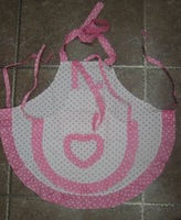 Cute White/Pink Polka Dot  Mommy and Me  Cotton Apron