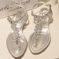 2015 princess luxury rhinestone beautiful elastic after flip flat heel sandals