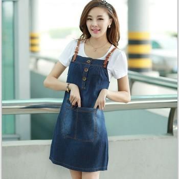2013 summer denim suspender skirt short-sleeve T-shirt twinset young girl small fresh one-piece dress