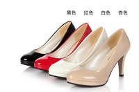 Free Shipping 2013 New Shoes Patent Leather Stiletto Shoes Bridal Shoes Round Work Shoes