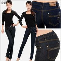 2013 Hot Sale Summer ladies' Jeans Slim Pencil pants Skinny Fit Denim Jeans Cotton materials 26-31 size Black Free Shipping