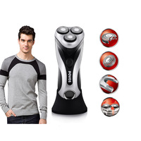 Free shipping POVOS PW911J Floating  triple head fully washable and rechargeable EU/US plug safty shaver razor in stock