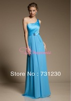 Free Shipping Hot Selling Chiffon One Shoulder Graduation Dresses