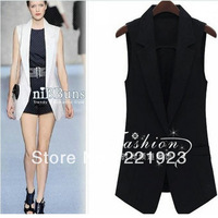 2013 Autumn Girls long paragraph Slim sleeveless blazer vest / waistcoat black / white - 3 yards Optional