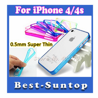 Drop Shipping 100 pcs/lot 0.5MM Ultra Super Thin Soft Flexible Frame Bumper for iphone 4 4S Freeshipping