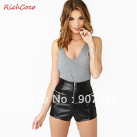 Free shipping women PU short with zipper design high waist packet buttock skinny european style fashion sexy wholesale D143