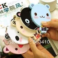 FREE SHIPPING!  Korean Sweet Cute Mini Round Mirror Cartoon Animal Big Face Make Up Mirror + Comb Set 5pcs/lot