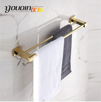 100% Copper bathroom towel set rack double-pole towel hanging towel bar fashion luxury gold plated bathroom accessories