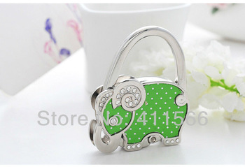 Free shipping New Arrived 1 PC Cute Green Elephant Design Handbag Folding Bag Purse Hook Hanger Holder Wedding For Friend Gifts