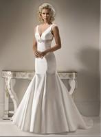 Free Shipping Custom Made V-neck Taffeta Trumpet Pleat Bow Bridal Gown Wedding Dresses Backless Chapel Train Floor Length