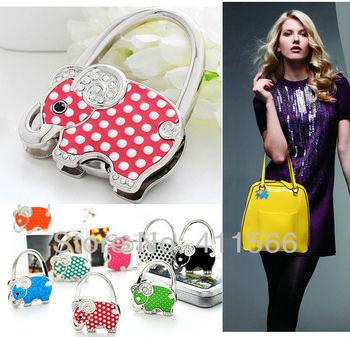 New Arrived 8 PC Fashion Bag Design Handbag Folding Bag Purse Hook Hanger Holder Wedding Gift  8 Colors Free shipping