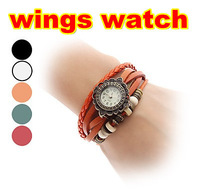 hot sale fashion leather watches women lady charm bead antique watches with pendant wing 100pcs Free dhl shipping