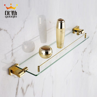 Copper single tier bathroom accessories dressing table glass shelf fashion luxury gold plated 3300