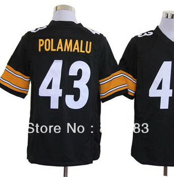 Drop Ship,2013 Cheap New Fashion American Rugby Football Game Sport Jersey,Pittsburgh #43 Troy Polamalu Black/White Tee Shirts