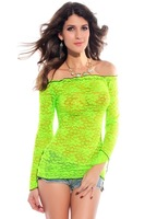 Sexy perspective bright color lace long-sleeve shirt decorative pattern shirt 25125