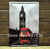 20*30cm London Bus UK Big Ben Clock  Poster Tin Sign Wall Decor Red 12 Avenue England Poster