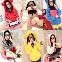 2013 new women's autumn and winter fashion  Cute Bear Ear Hoodie Zipper Sweatshirt Outerwear Sweater Tops Hoodies