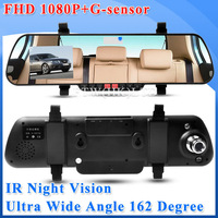 "New 2.7"" LCD Screen X11 Rearview Car DVR  Mirror 1920*1080P 25FPS + 162 Ultra-Wide Angle Degree + G-sensor + IR Night Vision"