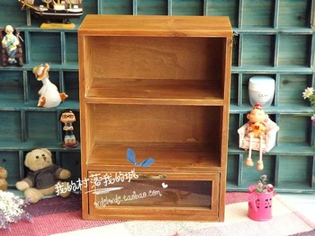Zakka vintage retro finishing storage cabinet finishing glass drawer cabinet bookshelf accessories