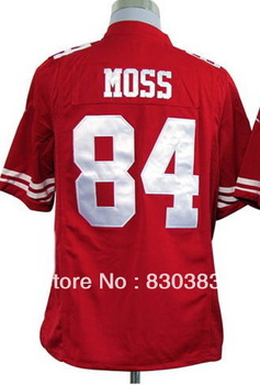 Drop Shipping,Wholesale 2013 Cheap Fashion American Football Game Sport Jerseys,San Francisco #84 Moss Home RedWhite T Shirts
