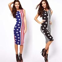 New American Flag Stars With Stripes Print Midi Sleeveless One-piece Fashion Dress Slim Tank Dress For Women&Lady,Free Shipping