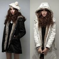2015 New Women Coat Faux Fur Lining Parkas with Belt Winter Long Ladies Hooded Zipper Detachable Lined Parka Outerwear Plus Size
