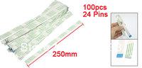 250mm x 12mm Flexible Flat 24 Pins FFC Cable White Green 100 Pcs