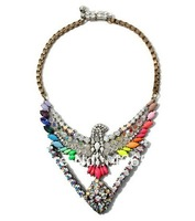2013 shourouk eagle crystal necklace New Colorful High Quality Luxury Beautiful Tantalising Rainbow statement choker necklace