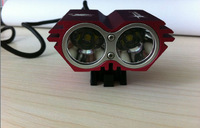 Newest Red SolarStorm X2 Bicycle light 2000LM 2 x Cree XM-L U2 LED 4 Modes 18650 Battery pack Free DHL EMS