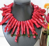 18'' Tibet Genuine RED CORAL branch NECKLACE