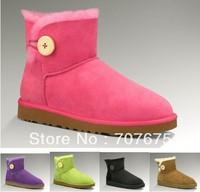 Free Shipping Kids Mini Bailey Button Snow Boots 100% Real sheepskin 100788, Children Winter Boots