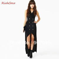 Free shipping women dress with double-breasted backless deep v-neck halter dovetail fashion vintage elegant cute D162