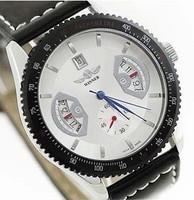 Free Shipping! Winner brand Mens Military Black Skeleton Hand Wind Mechanical Watch Wrist Watch Leather Strap Drop Ship