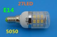 A+ Quality E14 5w  Warm White/Cool White 5050 SMD 27 LED Bulb Lamp High Lumen Energy Saving AC 200V-240V Free Shipping 5pcs/lot