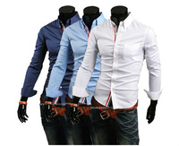 New Arrival free shipping with tracking number men's shirts Slim fit stylish Dress 2013 long Sleeve Shirts size M-XXL
