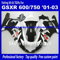 7 Gifts fairings bodywork for SUZUKI GSXR 600 750 K1 2001 2002 2003 GSXR600 GSXR750 01 02 03 glossy black white fairing set at43