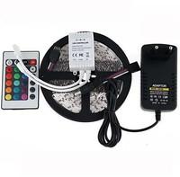 RGB led strip 3528 flexible strip light DC12V 5M 300led +24key IR remote controller +power adapter EU/US/AU Plug free ship