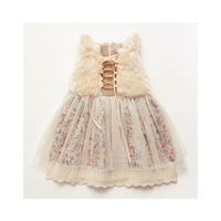 6pcs/lot buy new year infant girl dress high quality fur floral lace dress for baby gilr fashion princess dress