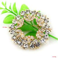 Free Shipping 6PC/Lot 2013 Fashion Cyrstal Floral Pin Brooch Flower  P857-011