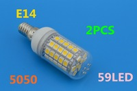 2pcs 2013 New Arrival Warm/Cool White 360 Degree 5050 SMD E27 12w 59led 5050 Energy Saving 200V-240V Free Shipping
