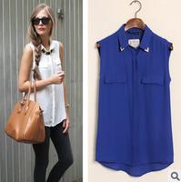 Brand ZA** Fashion women's New 2014 summer  turn-down collar all-match pocket sleeveless shirts tops blouses for women