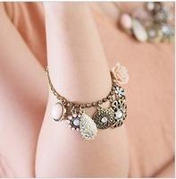 Minimum Order $20 (mixed order)  Fashion vintage nostalgic accessory rose gem multi element pendant drop bracelet