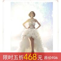 Quality 2013 dream luxury version crystal feather low-high train wedding dress trailing short formal dress