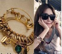 Minimum Order $20 (mixed order)  vintage fashion female multi-layer personality gem 5 pieces set wide bracelet