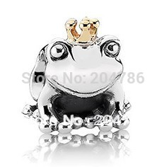 925 Silver Bead Frog prince European charms Compatible with Snake chain charm Bracelets Free shipping(China (Mainland))