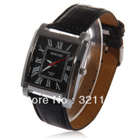 Fashionable MINGBO Roman Numerals Hour Marks Leather Quartz Wrist Watch with Black Dial for Men 0018