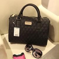 2014 Fashion designers leather bags plaid For women's Shoulder/Messenger handbag mango black plaid brand bag