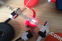 Free shipping Flashing Light Noodle Dock USB Cable 100PCS/LOT