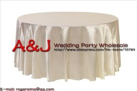 Door to door free shipping!! 108inch ivory round shaped satin table cloth/Tablecloths/Table Linens for wedding party decorating